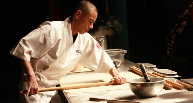 Dec/05/2012 Making Soba with Iron chef Morimoto Event at Tribecca in